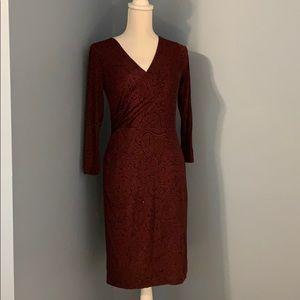 Loft deep V faux wrap dress- Burgundy.  NWOT